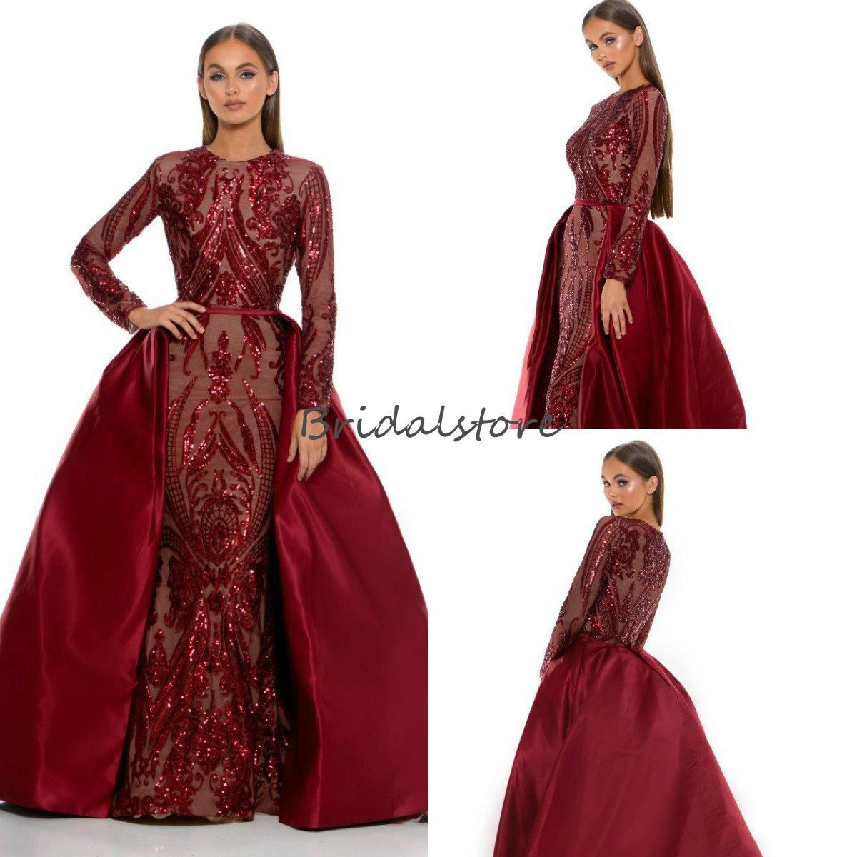 Sirena musulmani Abiti da sera con Wear Detachbale Train maniche lunghe Borgogna Sequin Prom Dresses africano 2020 Trend Plus Size abito convenzionale