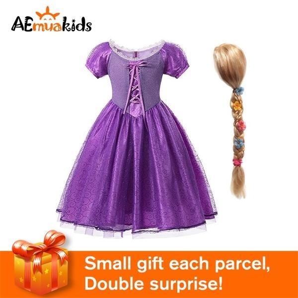 Mädchen Deluxe Rapunzel Prinzessin Kostüm Short Sleeve Kordelzug Bowknot Blumen-Fantasie-Partei-Kleid Halloween Cosplay Kleidung 0925
