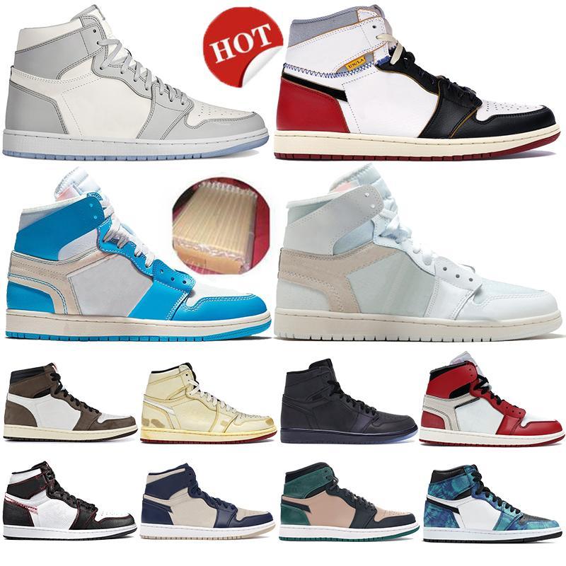 Jumpman 1 1s High OG Sneakers powder blue wolf grey sail bio beige Mens Basketball Shoes Chicago Travis Scotts turbo green Women Trainer
