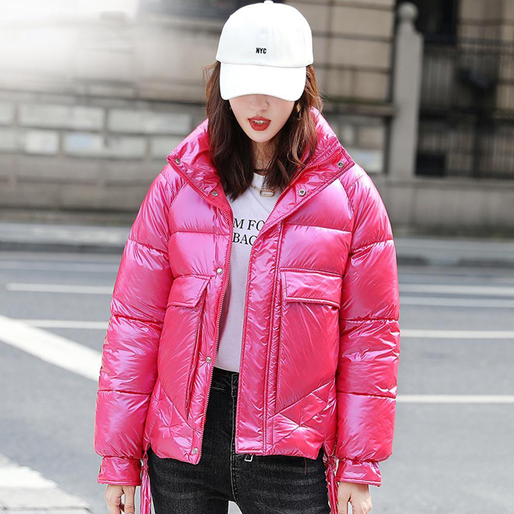 Yeni Standı Yaka Kış Ceket Kadınlar Kısa Shinny Kış Coat Bayan Parlak Casual ceketler Pamuk yastıklı Parkas Coat
