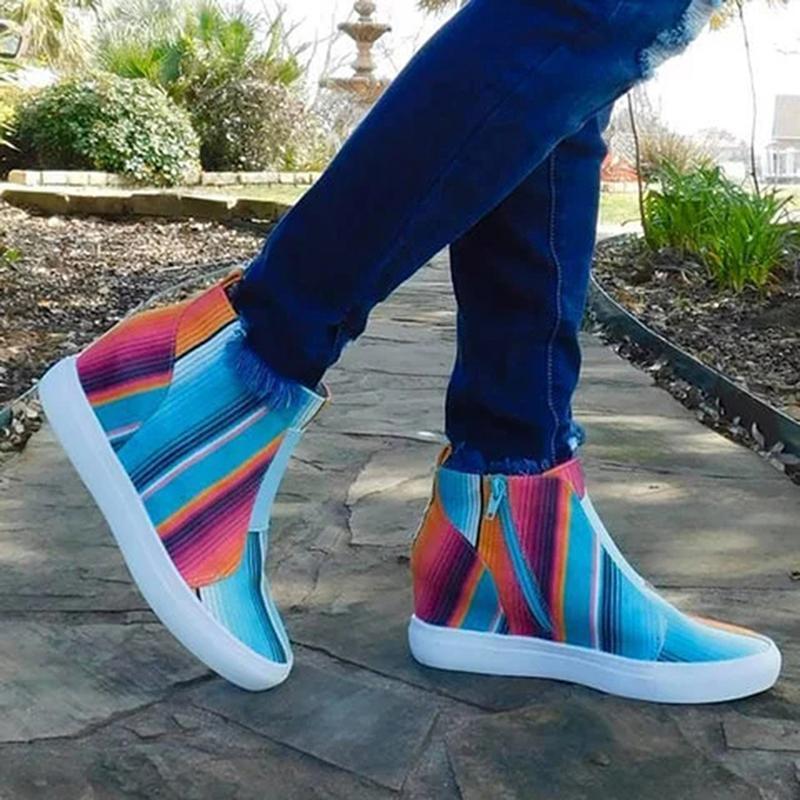 Wedge listrado colorido Vulcanize Shoes Moda Aumento Zip das mulheres dentro Zapatos de mujer New Girl For Fashion