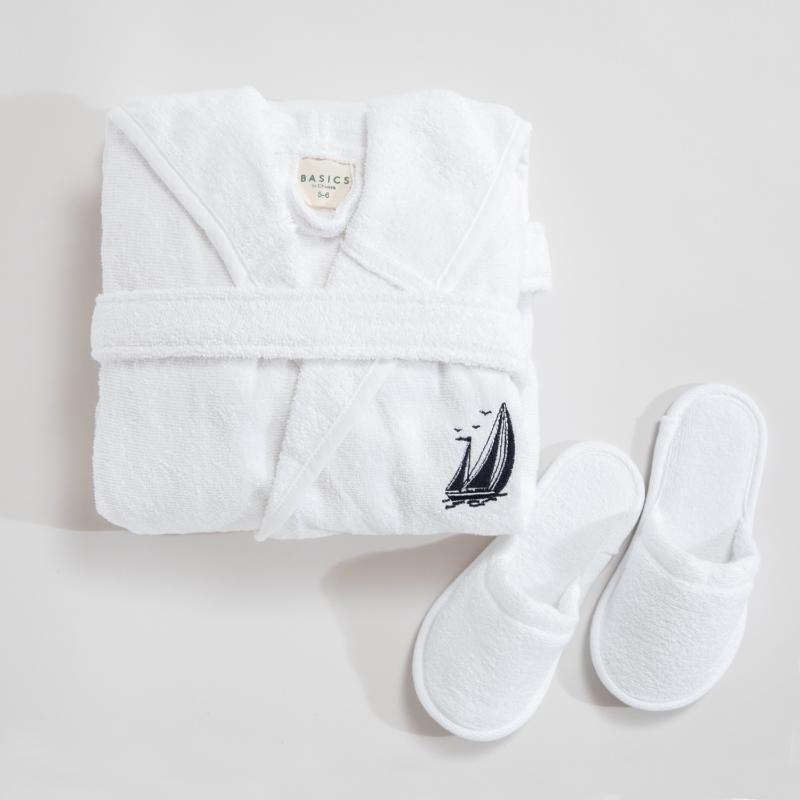 Sail Patterned bambini accappatoio set di asciugamani