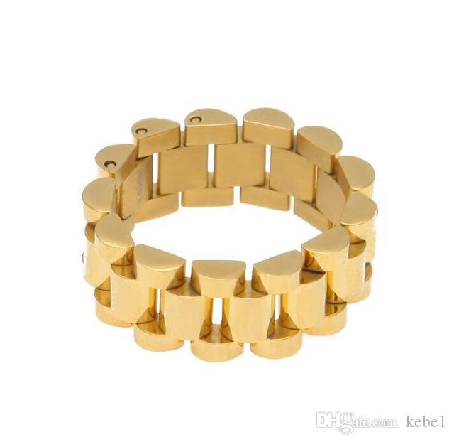 Üst Kalite Boyut 8-12 Hip Hop Melodi ehsani Band Yüzük Erkekler Paslanmaz Çelik Altın Renk Başkanı Watchband Bağlantı Stil Yüzük