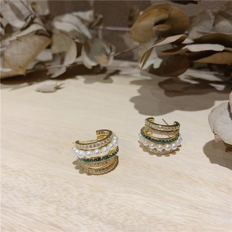 brincos elegantes alto grau de Hi2wq coreana Dongdaemun agulha mesmo s925 prata strass Mulheres pérola Pérola Rhinestone brincos