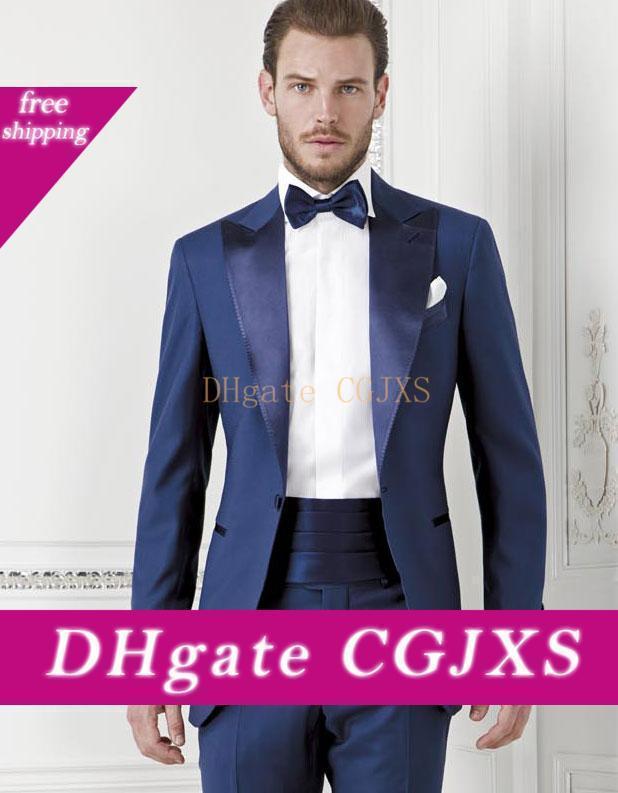 Estilo clásico esmoquin novio padrinos de un botón azul de pico solapa mejor juego del hombre de la boda Trajes S Blazer (chaqueta y pantalones Faja Tie) K262