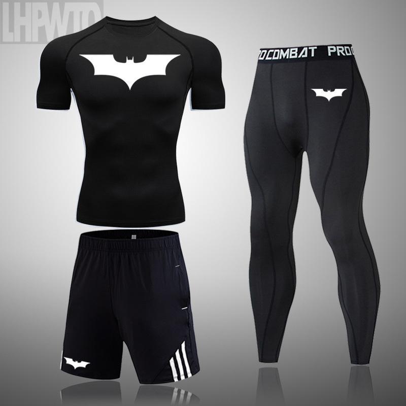 Ropa de la aptitud los hombres de manga corta deportes camisa de la camiseta de los hombres de jogging 2020 Batman encabeza los deportes de compresión de conjuntos de secado rápido LJ200827