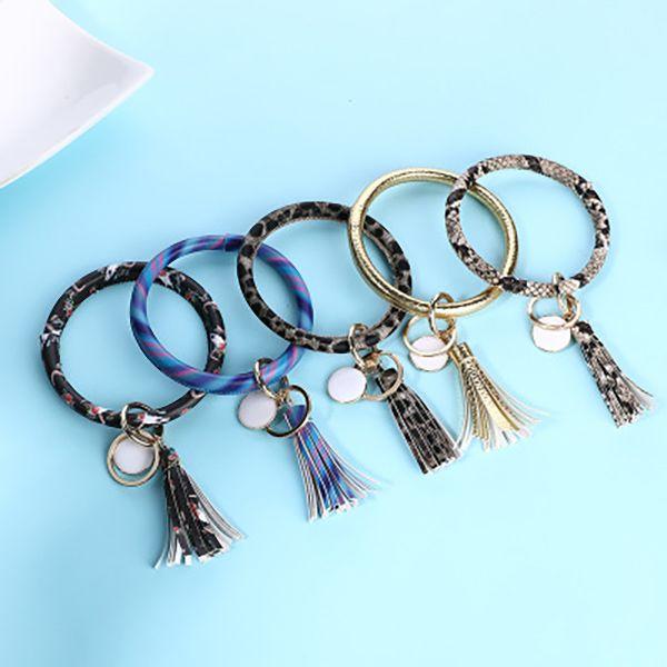 Tassel Charms Bangles Key Buckle PU Leather Wrap Wristbands Keys Chain Multi Colors Bracelet Ring 11style
