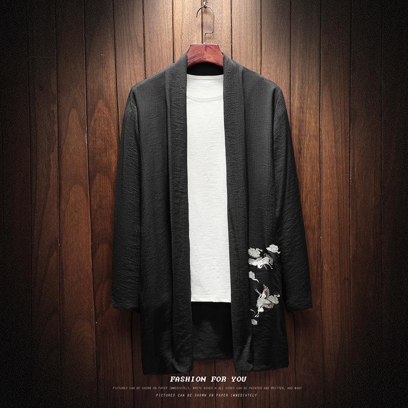 nova primavera guindaste estilo chinês de Homens BleMq bordado blusão casaco corta-vento casaco de algodão e linho casaco cardigan de comprimento médio manto me