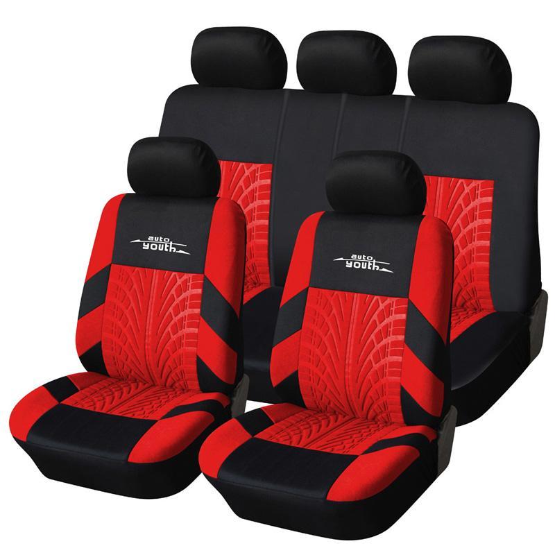 Автокресло Обложка Полиэстер Ткань Универсальный комплект красный автомобиль Styling Fit Большинство Аксессуары для интерьера Седаны чехлов сидений для ухода