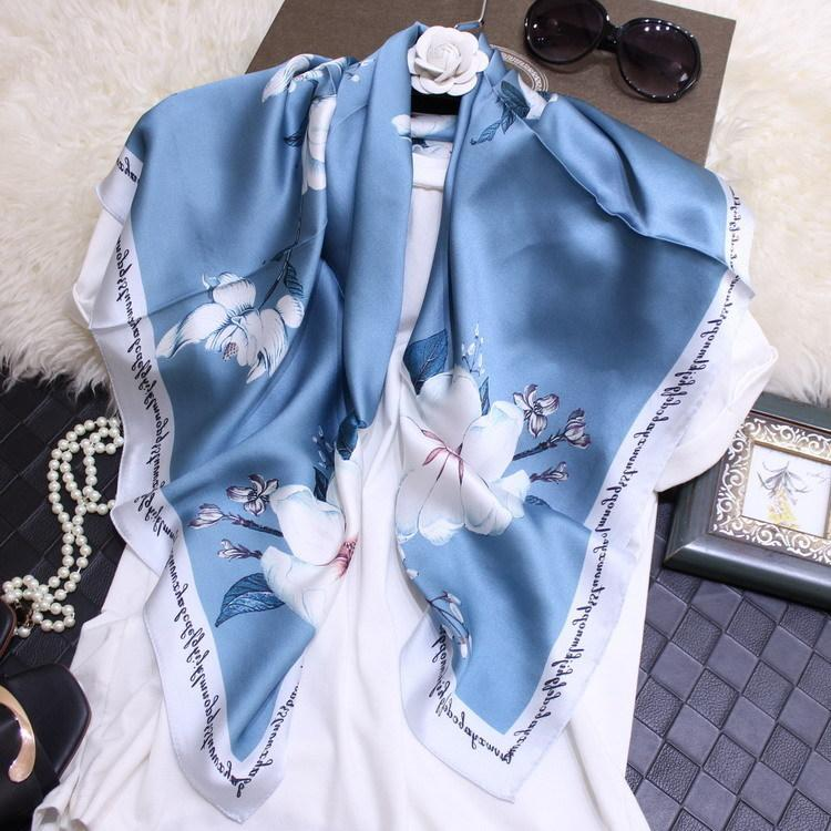 Magnolia littérature et l'art frais soie véritable fibroïne Crêpe Satin 90 Foulard carré en soie Foulard en soie Femme Joker Lady Foulard Lot Fashion