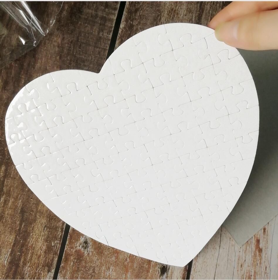 Favore del partito di giorno del Cuore Vuoto a forma di puzzle 75pieces sublimazione Puzzle in bianco perla puzzle fai da te compleanno di cerimonia nuziale regalo di San Valentino LJJP383