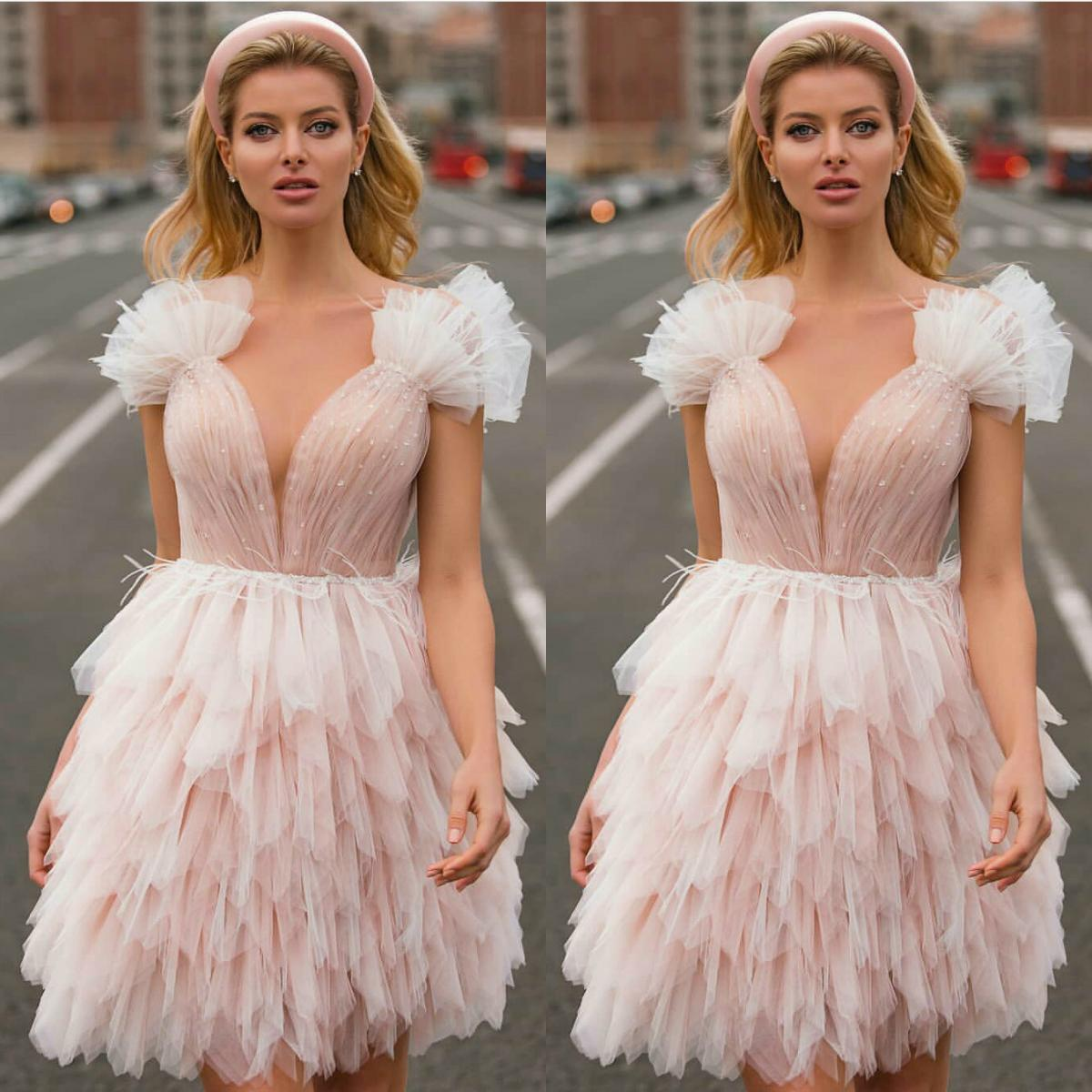 Short Prom Dresses Custom Made Sequins Tulle Tiered Evening Dress Home Coming Dress Formal Party Robe De Soiree