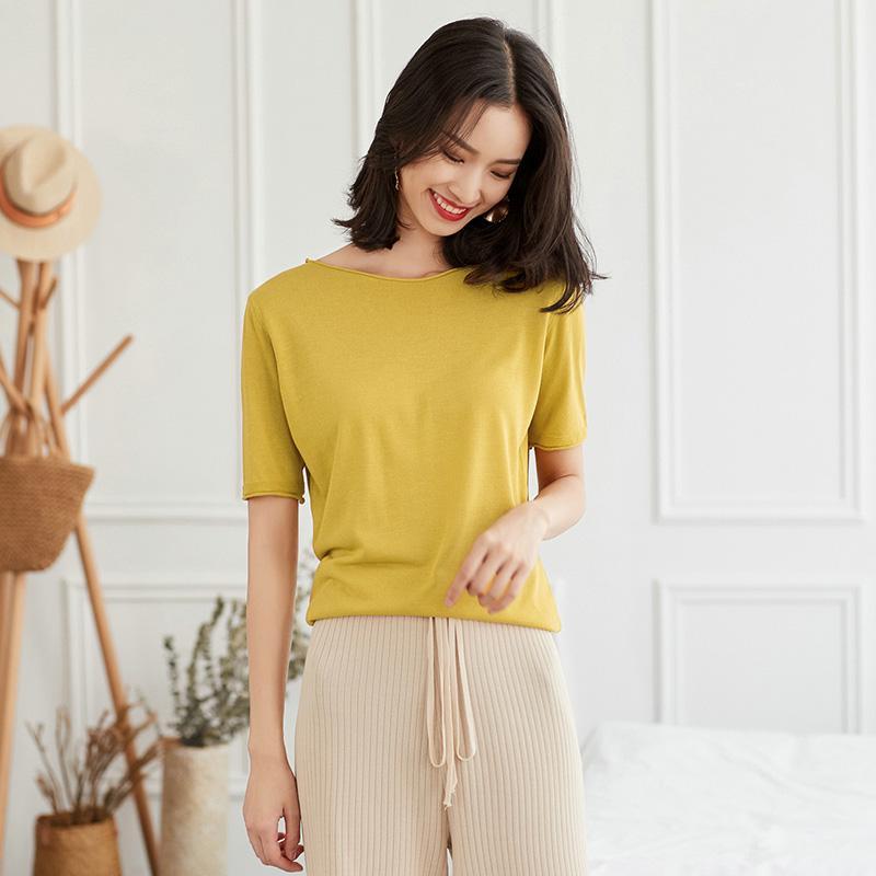 Sommer-neue Frauen-kurze Hülsen-Silk O-Ansatz Oberseiten Mode Weiblichen Sommer weich und bequem Strand Hemd Knit Pullover Aprikose