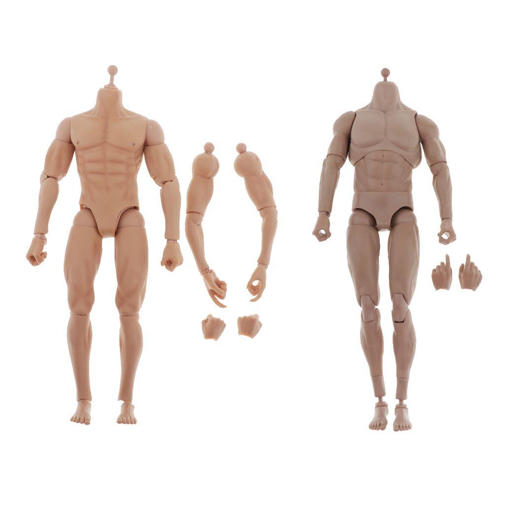 2ST Maßstab 1: 6 Skeleton Nude Flexible Mann Action-Figuren Spielzeug W / Ersatzhand