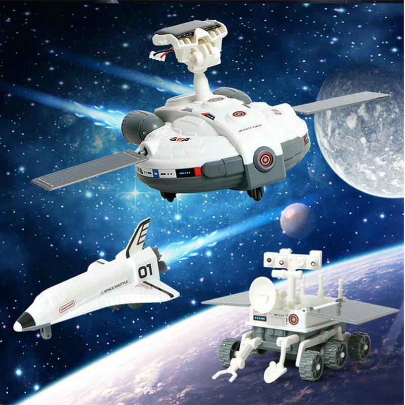 DIY Montaj Güneş Enerjisi Uzay gemisi Uzay Keşif Takımı Kid Çocuk DIY Bulmaca Ve Bilim Çocuk Oyuncakları 3 ve 1 Güneş Oyuncak