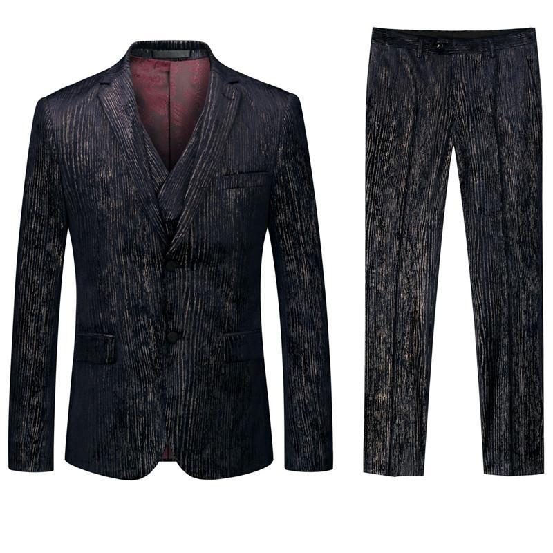 terno de 3 partes blazers calças Os últimos homens colete homens Magro impresso terno do casamento terno do noivo banquete vestido formal, cavalheiro