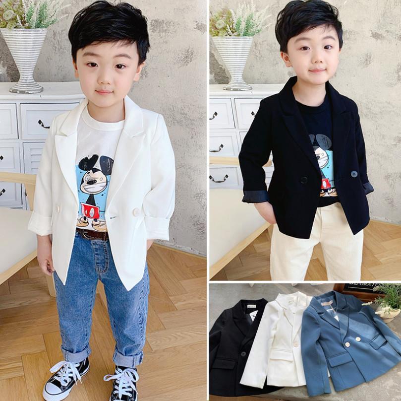 Erkek Yaka Uzun Kollu Bir Suit Ceket Çocuk Rahat Dış Giyim Çocuk Blazers Shool Boy Giyim A3940