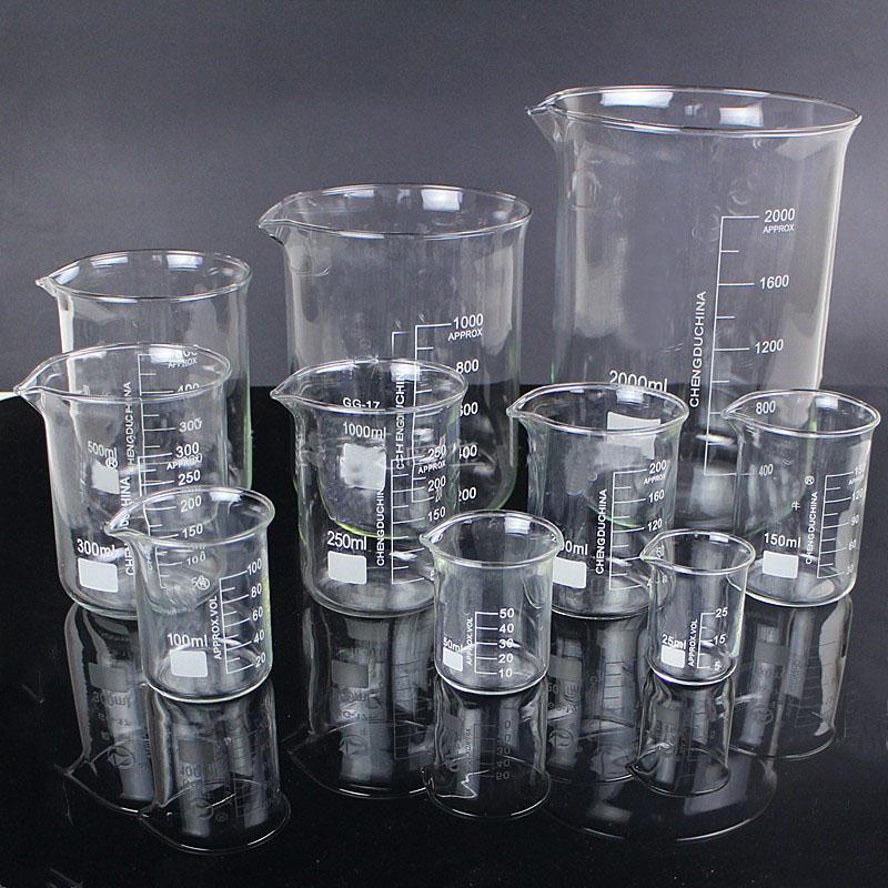 5pcs / Set 25ml / 50ml / 100ml / 150ml / 500 ml Verre Bécher Chimie Experiment Labare pour équipement de laboratoire scolaire
