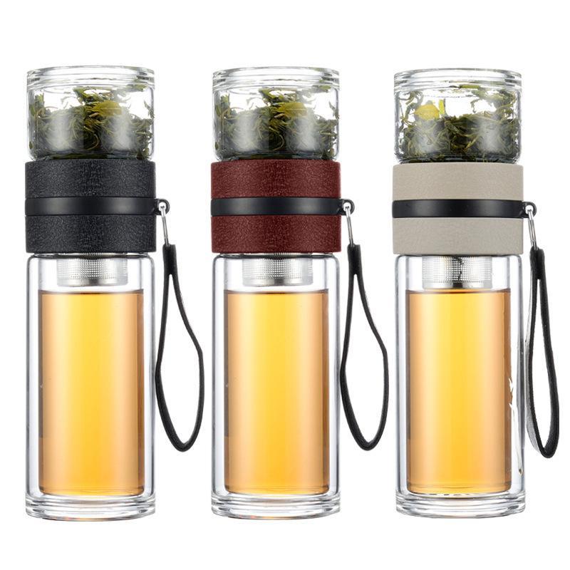 Coupes de séparation Double verre personnalisé filtre portable filtre créatif hommes et femmes gobelets d'eau Mélangeurs Mini Mélender Mélangeur