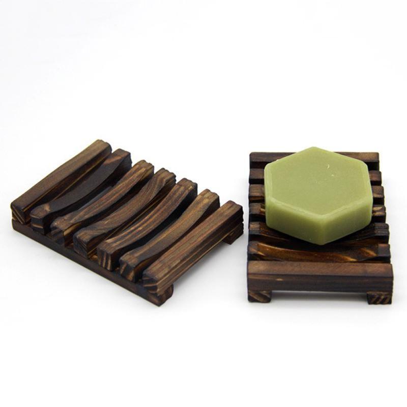 Jabón de madera plato de jabón caja de jabón estante de madera de carbón Jabones sostenedor de la bandeja de baño Ducha Soporte de almacenamiento de la placa soporte personalizable VT0311