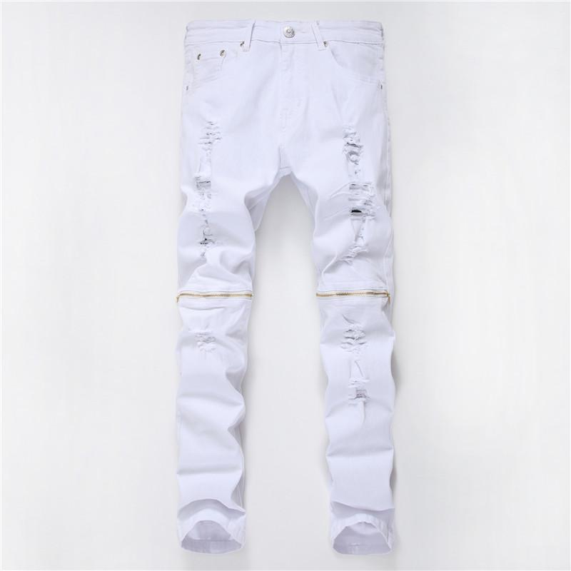 Pantalon Hole Man Slim Pantalons simple Designer Hommes solide Pantalon droit Zipper Décoration Knee tissage Drapé et