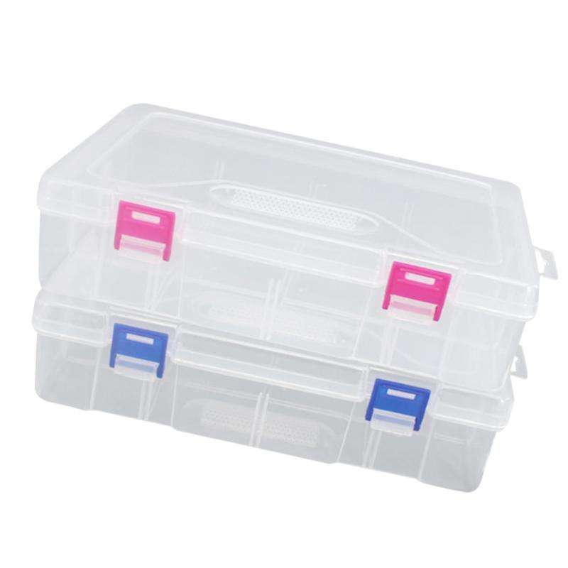 2Pcs Пластиковой Шпилька Упаковки пустой коробки с крышкой Прямоугольник Коробки для хранения Организатора для электропроводов Многофункциональной хранении Конта