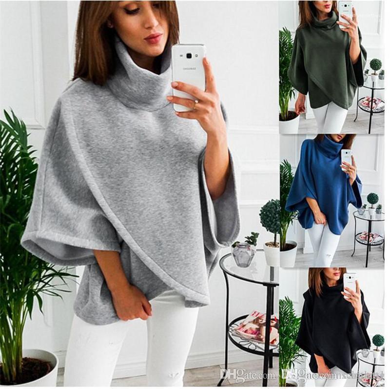 Roupas Turtleneck Womens Hoodies Designer cor sólida capuz Moda Feminina camisolas casual Asymmetric Plus Size Mulheres
