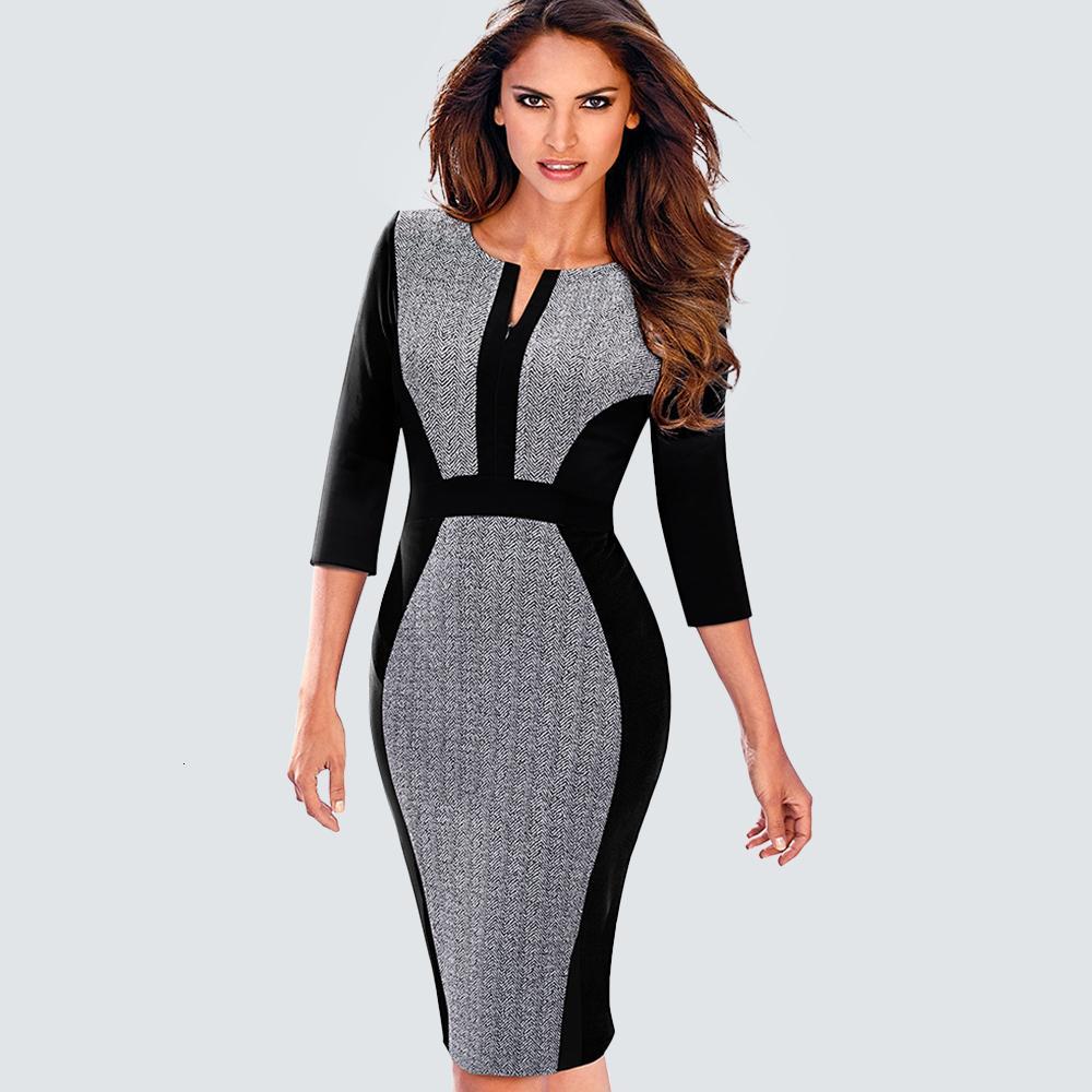 Donne formale Office Work Busin One-Piece Outfit Autunno casual chiusura lampo anteriore di contrasto della rappezzatura guaina aderente Lady Dr B409