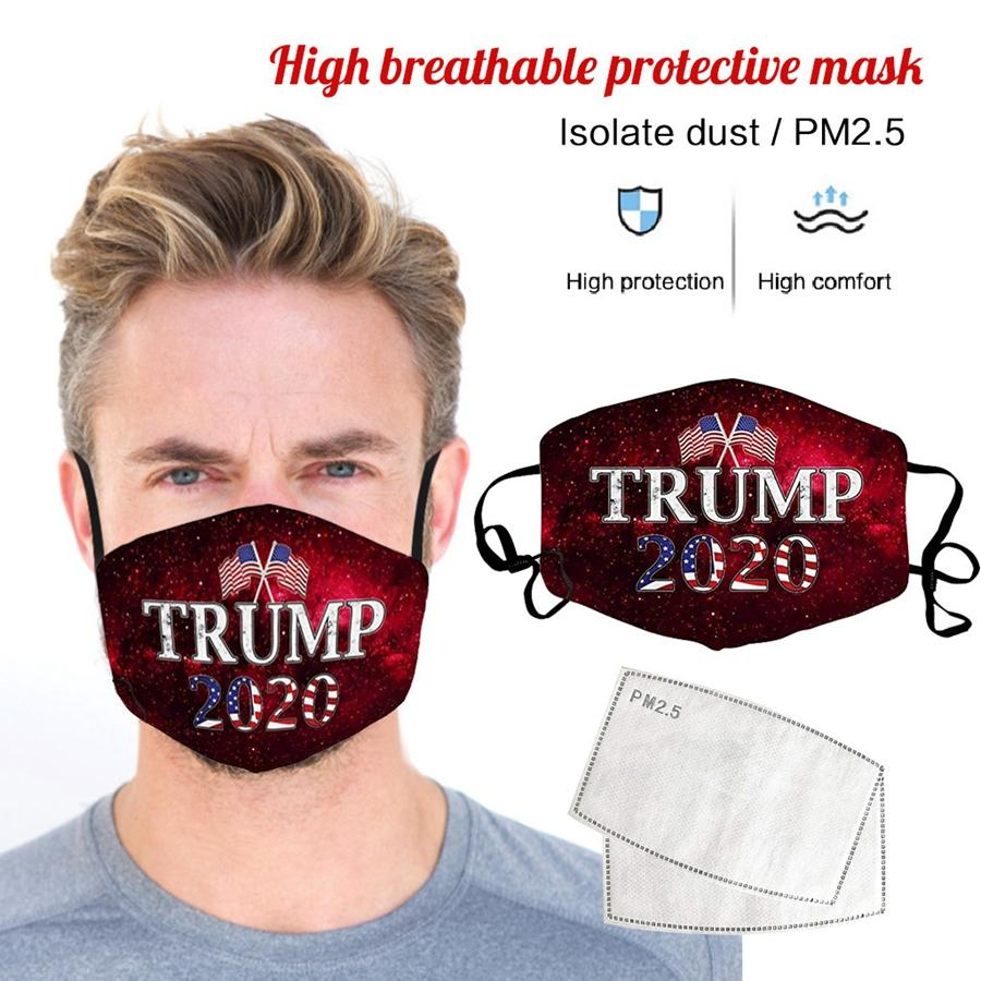 2020 ABD Başkanı Seçim Malzemeleri Yetişkin Maske Trump Yüz Maskesi toz geçirmez Nefes Yıkanabilir Ağız Kapak DDA343 Maske
