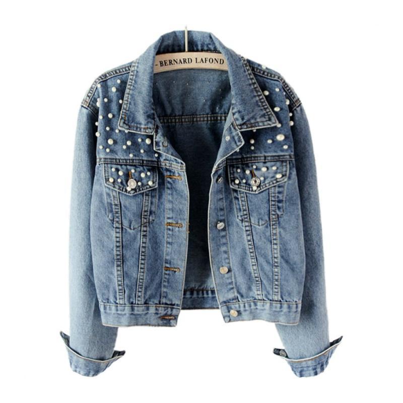 mujeres ponen en cortocircuito la chaqueta de dril de algodón de gran tamaño 5XL la chaqueta de Jean perla rebordear bolsillo prendas de vestir exteriores de las señoras Streetwear abrigos femeninas chaquetas de mezclilla