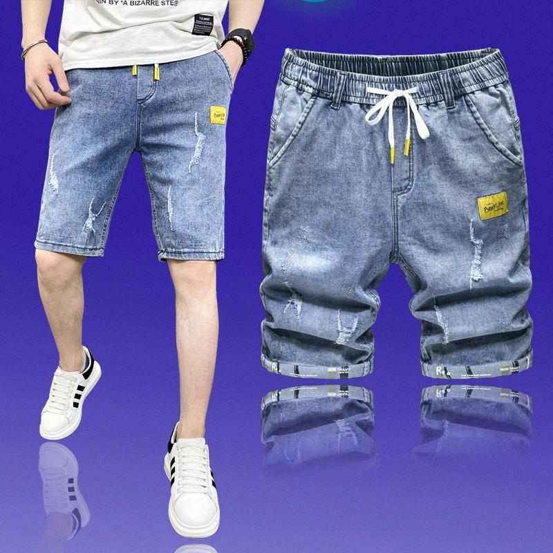 Yaz Yeni Erkekler Stretch Kısa Jeans Moda Günlük Slim Fit Yüksek Kaliteli Elastik Kot Şort Erkek Marka Giyim YXuM #