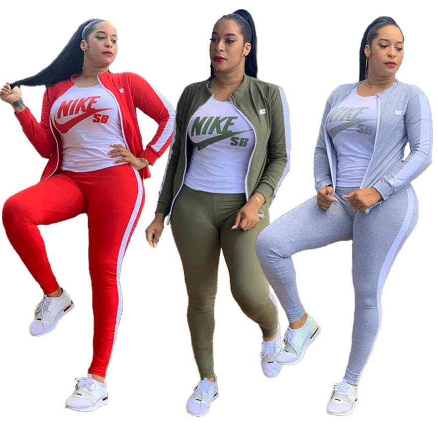 Las mujeres más del tamaño caen invierno sudaderas chándales diseñador de la ropa de marca larga de la manga de la chaqueta + camiseta + pantalón conjunto 3 piezas trajes casuales 3628