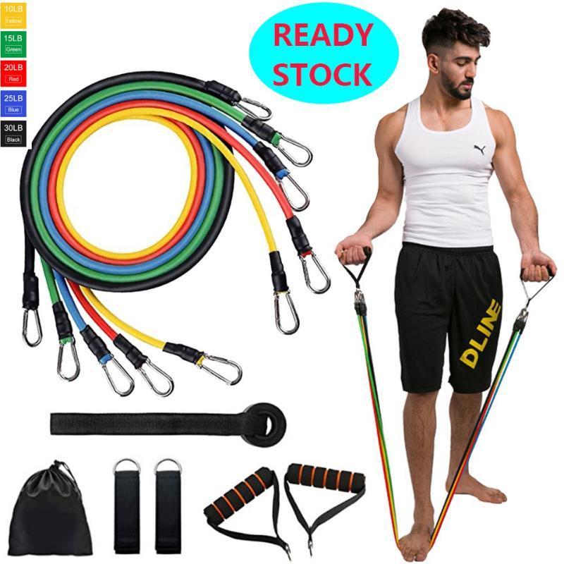 11pcs / set Pull corde Fitness Exercices bandes de résistance latex Tubes Pédale Excerciser Entraînement Yoga Workout