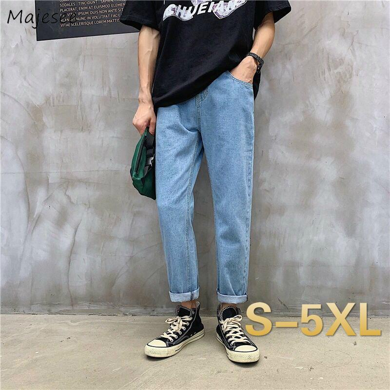 Men Jeans Denim Solid Drawstring Plus Size 5XL Ankle Length Korean Simple All-match Male Trousers High Elasticity Teens Leisure
