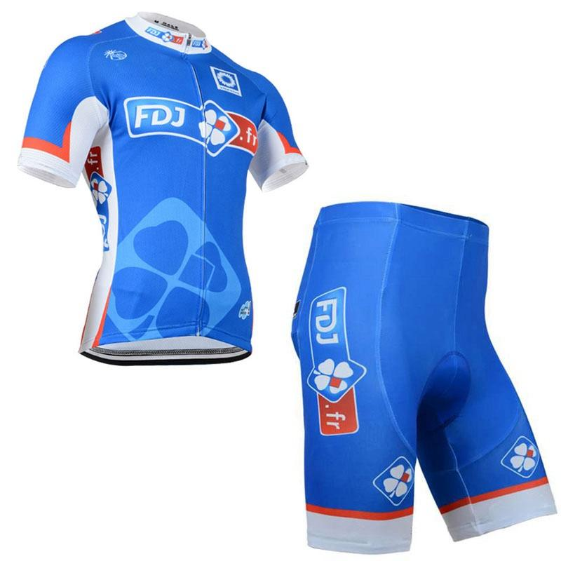 FDJ team Cycling Short Sleeves jersey (bib) shorts sets Quick-Dry Bike thin Strap summer bike clothes gel pad Sportwear new C813-5
