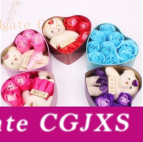 Jabón de la flor romántica de Rose con poco linda muñeca del oso 3 Rose 1 oso 9 Rose Caja del corazón regalos de San Valentín de la boda del regalo de cumpleaños