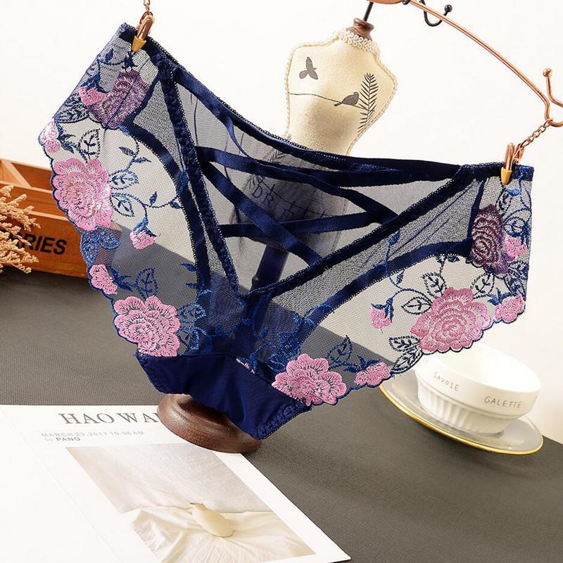 Culotte en dentelle femmes Slip transparent sexy imprimé floral Sous-vêtements haute élévation mince Lingerie Mesh pour les femmes