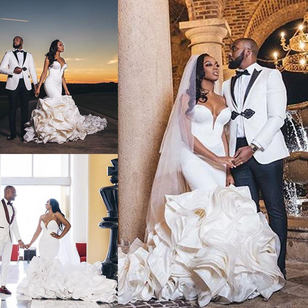 2020 Rüschen Organza Brautkleider Liebsten Kapelle Zug Wunderschöne Brautkleider Nigerian arabische Ehe Kleid Robe De Mariee