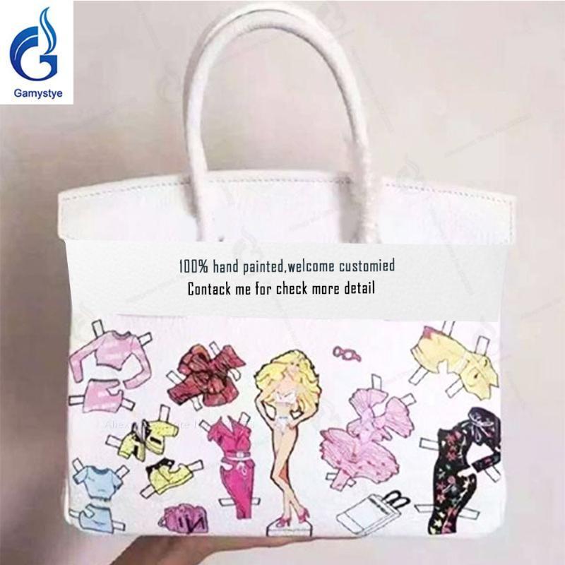 Hand painted Women's fashion handbag Genuine Leather Top handle bags Women Messenger Bag Female Shoulder Bag Luxury Classic Bags