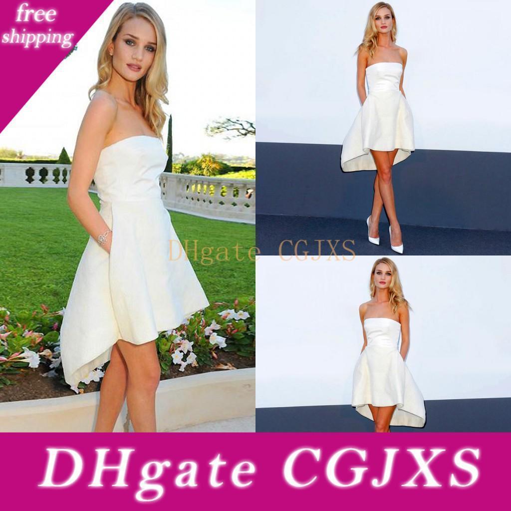 Simple White dama de honra vestido sem alças mangas Vestidos Homecoming com bolso partido Custom Made Curta Alta Baixa Prom Vestidos New Arrival