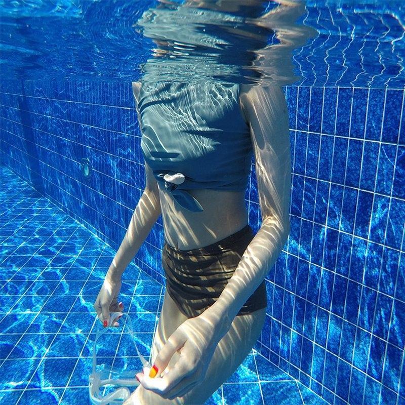 YVXNv q8nlU coreana dividir nova cintura alta maiô biquini da forma conservadora suporte de aço biquíni peito reuniram swimsu sexy triângulo das mulheres