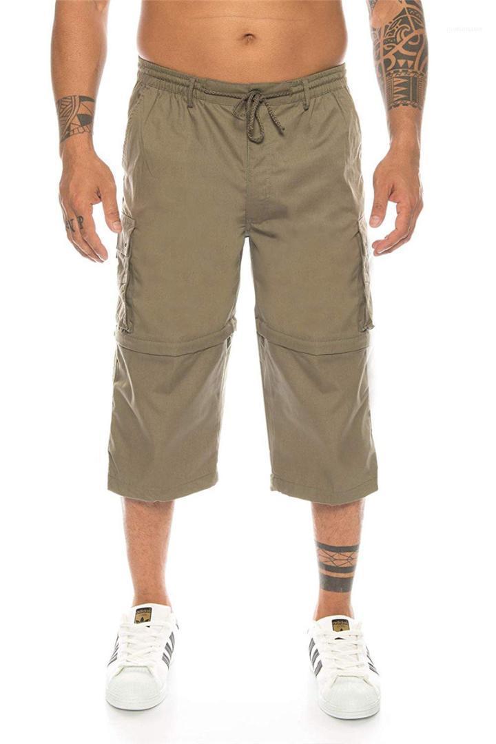 Elastico in vita con coulisse staccabile Shorts Solid pantaloni di colore Homme di estate il carico degli uomini Shorts Casual Casuale