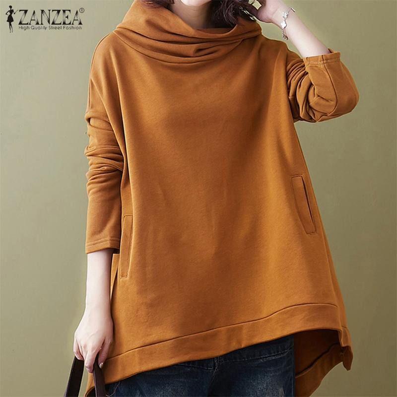 ZANZEA 2020 Kadınlar Kapüşonlular Bayanlar Uzun Kollu Kazaklar Artı boyutu Katı Kapşonlu Kazak Üst Mujer Casual cepleri Tişörtü 5XL