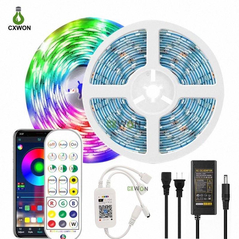Inteligente la luz de tira Wifi aplicación controlada de la cuerda SMD5050 RGB de luz con WIFI de sincronización de música 24keys controlador y adaptador 8qoG #