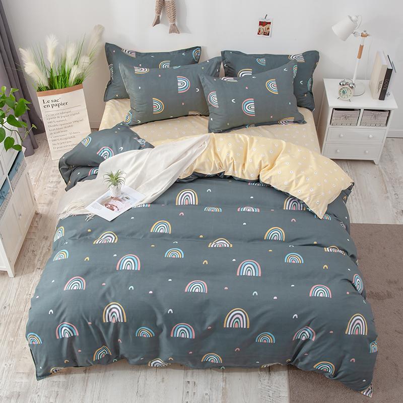 BEST.WENSD arco-íris Consolador Bedding Sets bonito cama de solteiro completa Rainha King Home 3d Bedclothing Housse Couette Bedding Set Algodão T200819