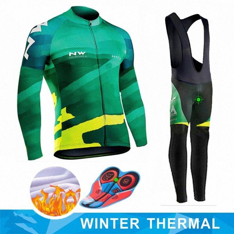 Northwave Cycling Jersey 2020 Pro Team Bike Inverno manica panno morbido termico lungo SET Ropa Ciclismo Bicicletta del Triathlon Ciclismo Set fxUw #