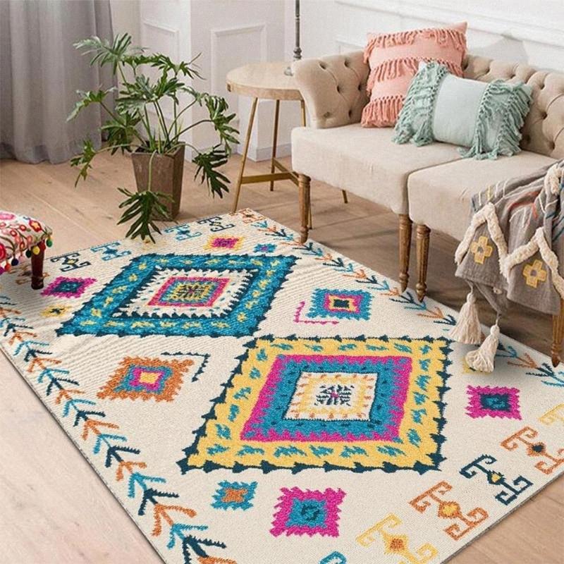 TPFOCUS Nordic Art-Fußboden-Matten-Teppich-rutschfeste weiche 100 * 160CM Dickere Bereich Teppich für Wohnzimmer Hauptdekoration Zubehör DAVC #