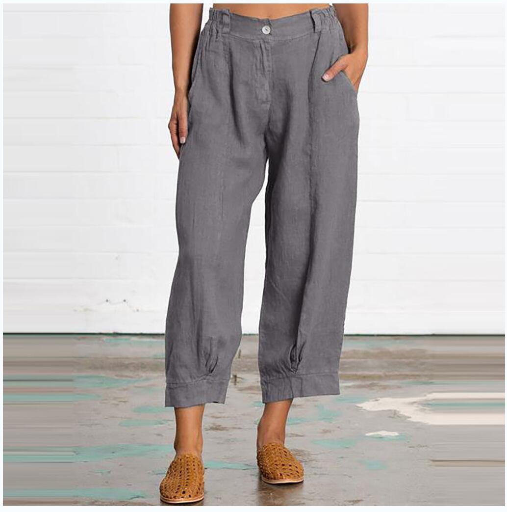 Best Selling europeu e americano New solto Grande Tamanho da forma das mulheres cor sólida calças cortadas Casual T200801