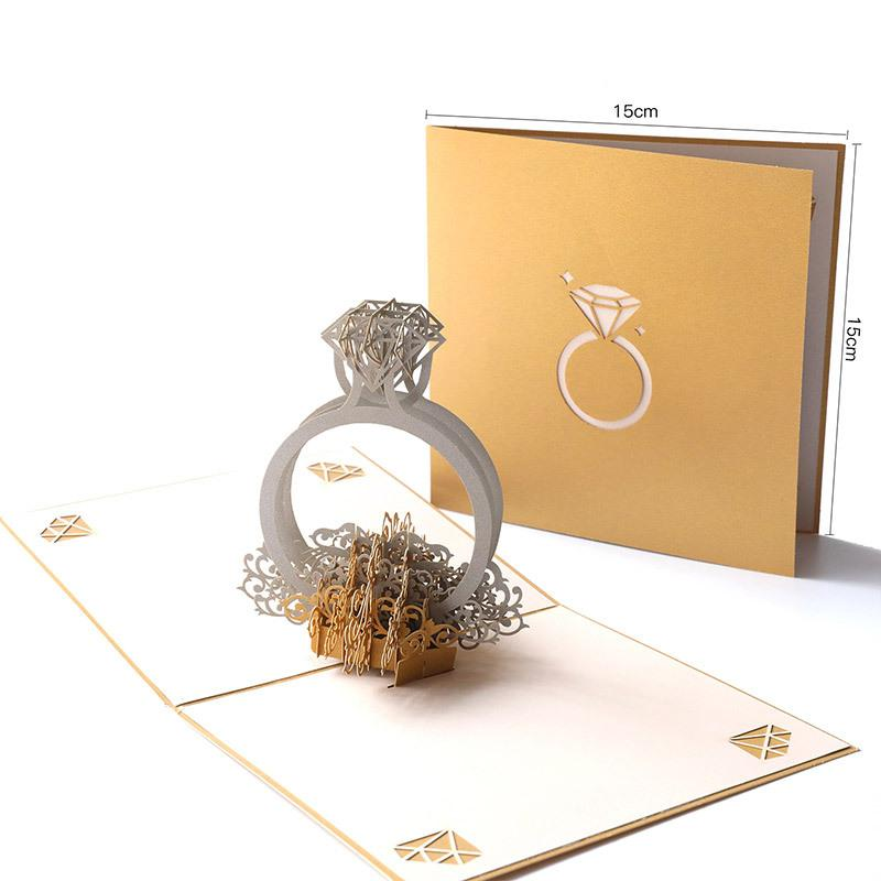 Valentine's Day Gift Greeting Cards 3D Ring Paper Wedding Invitation Vintage Style Hollow Greeting Card for Girlfriend