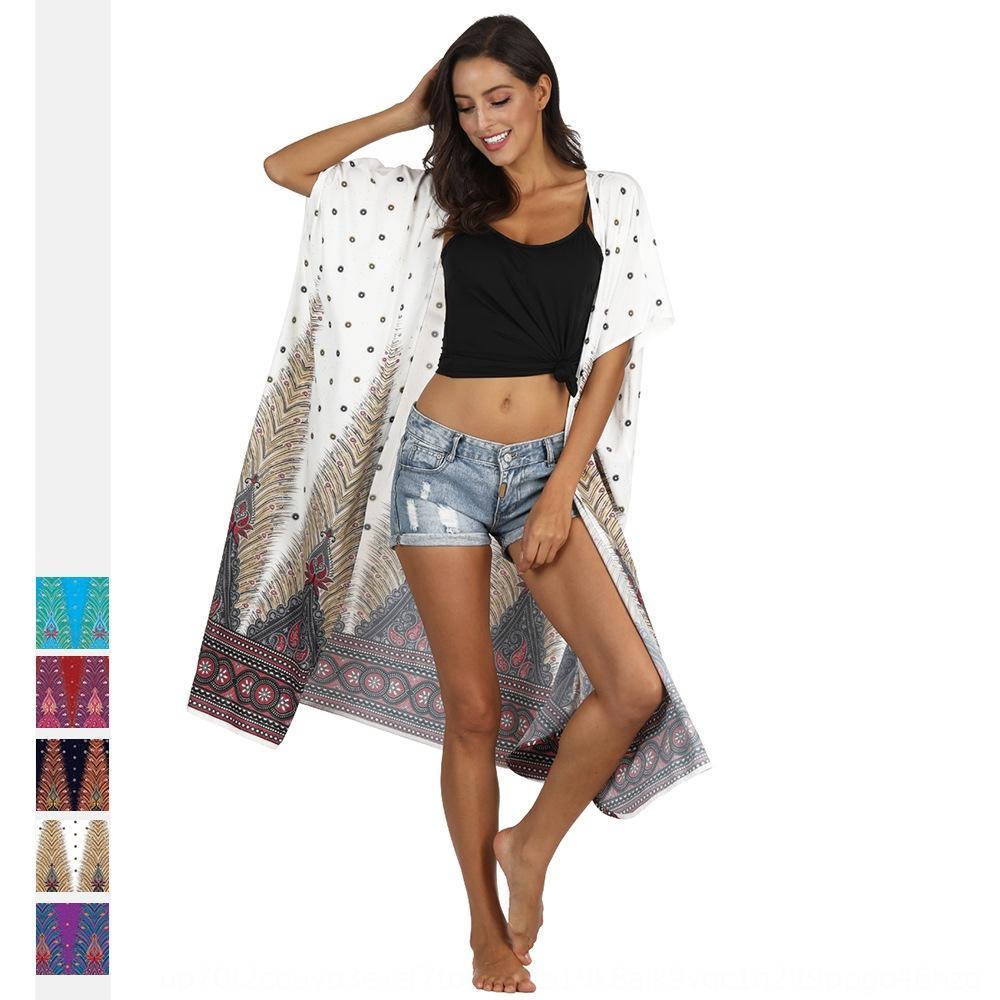 le style d'impression des vêtements de protection solaire Long Beach Ethnic Women Top fracture numérique nationale mode numérique de haut à manches courtes